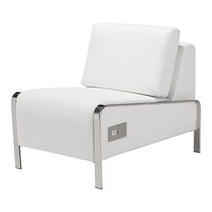 LG707 TEK Leather Slipper Chair-PowerUSB White
