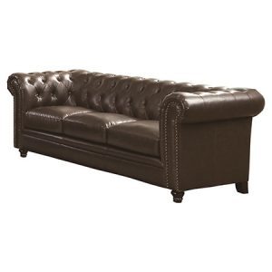 ROY BUTTON TUFTED LEATHER SOFA