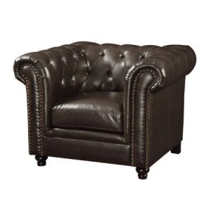 ROY BUTTON TUFTED LEATHER CHAIR