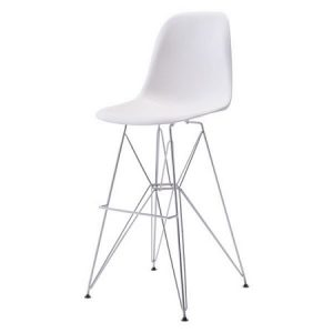 BS225 Paris Bar Stool White & Chrome