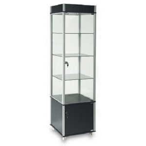 EU209 Carter Vertical Display Cabindt Lockable Lighted Storage Black