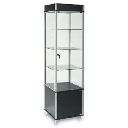 EU209 Carter Vertical Display Cabindt Lockable Lighted Storage Black