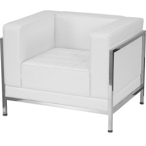 LG935 Miami Arm Chair White & Chrome