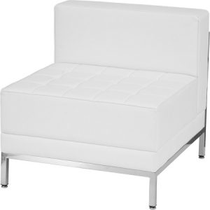 LG936 Miami Armless Chair White & Chrome