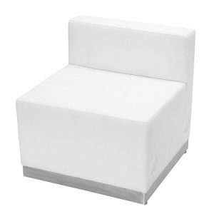 LG940 Whistler Armless Chair White & Brushed Stainless
