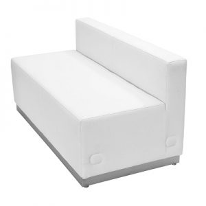 LG941 Whistler Armless Loveseat White & Brushed Stainless