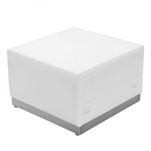 LG945 Whistler Square Ottoman White & Brushed Stainless