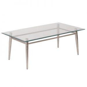 OT882 Brooklyn Cocktail Table Rectanlgle Glass & Brushed Nickel