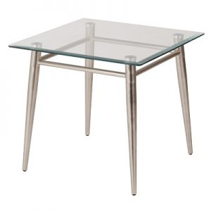 OT883 Brooklyn End Table Sqaure Glass & Brushed Nickel
