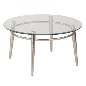 OT885 Brooklyn Cocktail Table Round Glass & Brushed Nickel