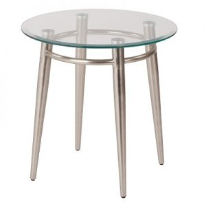 OT886 Brooklyn End Table Round Glass & Brushed Nickel