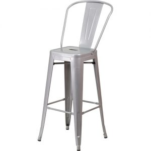 BS230 Retro Bar Stool With Back Silver