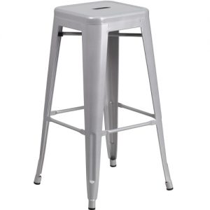 BS231 Retro Bar Stool No Back Silver
