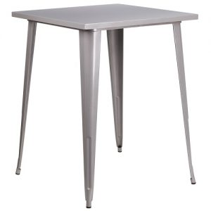 BT507 Retro Bar Table 31 Inch SQ Silver