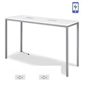 BT503 Linux Bar Table - Charged White & Silver