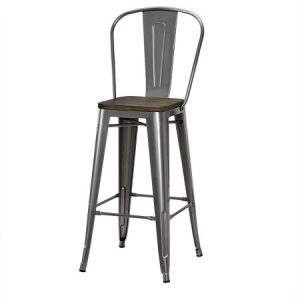 BS211 Tolix Bar Stool W-Back  & Wooden Seat Gunmetal