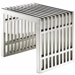 CH137 Grid Bench Small Stainless Steel